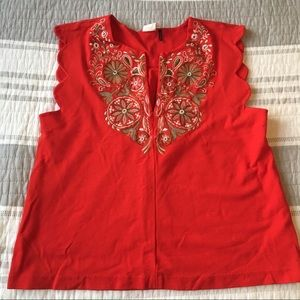 Akemi + Kin Anthropologie Small Embroidered Top